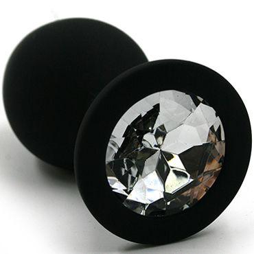 Kanikule Большая анальная пробка, черная С прозрачным кристаллом большая анальная пробка из силикона розовая с прозрачным кристаллом
