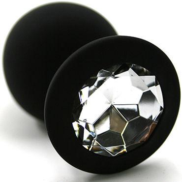 Kanikule Средняя анальная пробка, черная С прозрачным кристаллом lovetoy gold spiral прозрачный золотая анальная втулка с прозрачным кристаллом