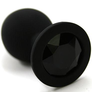 Kanikule Средняя анальная пробка, черная С черным кристаллом большая анальная пробка из силикона черная с прозрачным кристаллом
