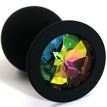 Kanikule Средняя анальная пробка, черная С радужным кристаллом pipedream chain o pain флоггер с металлическими цепочками