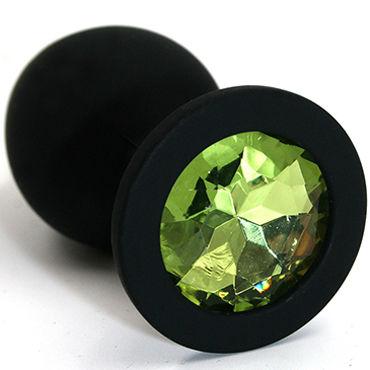 Kanikule Средняя анальная пробка, черная Со светло-зеленым кристаллом большая анальная пробка из силикона черная с прозрачным кристаллом