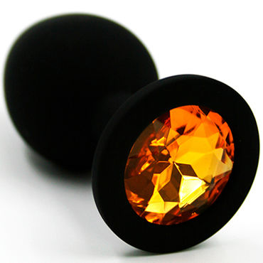 Kanikule Средняя анальная пробка, черная Со светло-желтым кристаллом большая анальная пробка из силикона черная с розовым кристаллом