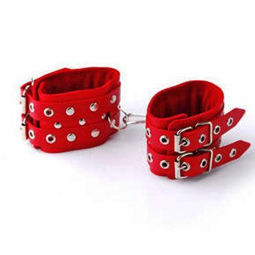 Sitabella наручники красный Наручники с двумя ремешками hitachi magic wand синяя прямая насадка для вибромассажера