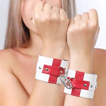 Sitabella Наручники белый С красными крестами ❤️ super powerful multi speed waterproof g spot av wand секс игрушки беспроводные волшебные палочки для массажа вибраторы для секса для женщин