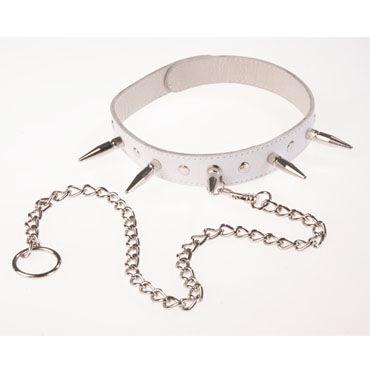 Sitabella ошейник белый С шипами, заклепками и поводком bad kitty handtights черные наручники для фиксации на кровати