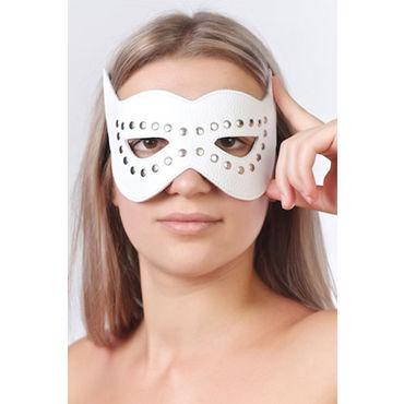 Sitabella маска, белая Кожаная, с велюровой подкладкой ouch fashionable buttplug черная анальная пробка с прозрачным кристаллом