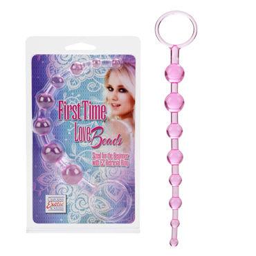 California Exotic First Time Love Beads, розовая Анальная цепочка california exotic lia love beads розовый анальные бусы сердечки