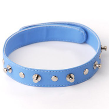 Sitabella ошейник, голубой С заклепками и шипами ouch fashionable buttplug черная анальная пробка с прозрачным кристаллом
