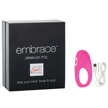 California Exotic Embrace Pleasure Ring, розовый Эрекционное виброкольцо с usb-зарядкой california exotic dual support magnum ring для пениса и яичек