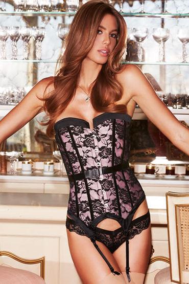 Baci Satin and Lace Corset, розово-черный Корсет с кружевной отделкой stylish strapless jacquard irregular hem women s lace up corset