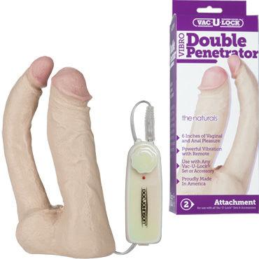 Doc Johnson Double Penetrator Анально-вагинальная вибро-насадка тестер mystim petits joujoux a trip to athens 120г свеча для массажа с ароматом мускуса и пачули