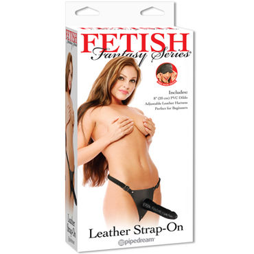 Pipedream Leather Strap-on Страпон на трусиках cтрапон inflatable vibrating strapless strap on