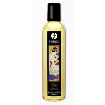 Shunga Stimulation, 250 мл Массажное масло, персик масло интимное массажное shunga сливочный латте 100 мл