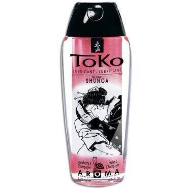 Shunga Toko Aroma, 165 мл Лубрикант с нежным вкусом, шампанское и клубника лубрикант на водной основе shunga toko aqva 165 мл