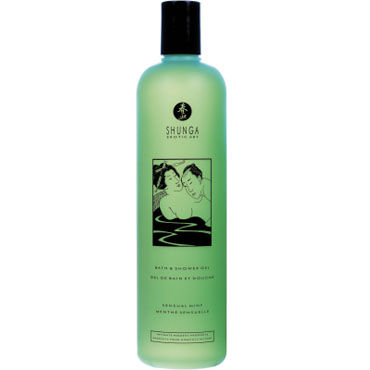 Shunga Bath & Shower Gel Sensual mint, 500 мл Гель для душа и ванны с ароматом Чувственная мята гель для ванны и душа shiatsu shower yuzu ginger 400 ml имбирь