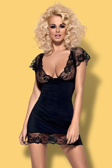 Obsessive Imperia, черный Облегающая сорочка и трусики durex play cherry 50 vk 8