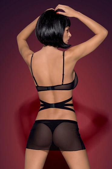 Obsessive Bondy, черный Открытая сорочка и трусики силиконовые накладки на грудь 46