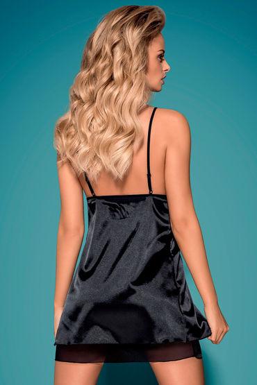 Obsessive Greylita, черный Атласный бэби долл и трусики боди obsessive bodystocking f208 размер s m l цвет черный