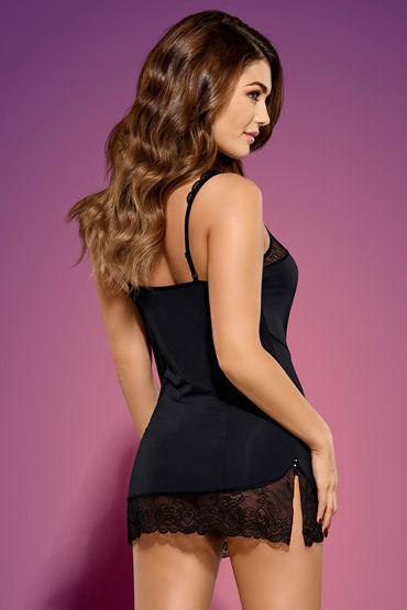 Obsessive Miamor, черный Сорочка с кружевной отделкой и трусики coquette комплект полупрозрачная сорочка и стринги