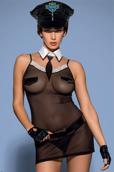 Obsessive Police 6 pcs chemise, черный Костюм офицера полиции й loverspremium o balls set розовый