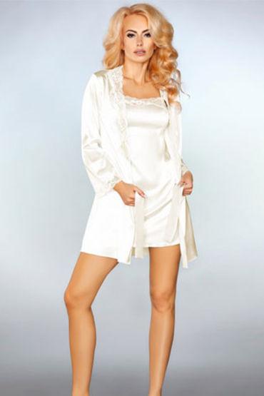 Livia Corsetti Jacqueline, белые Пеньюар, сорочка и трусики livia corsetti marita черный пеньюар с вышивкой