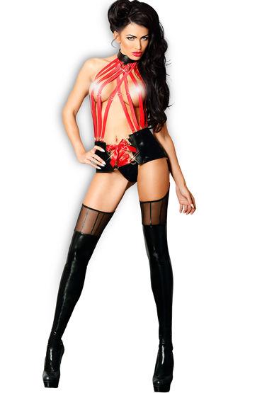 Lolitta Sensual, черно-красный Комплект из топа с поясом и чулок комбинезон dupu с чулками и кожаными ремнями черный os