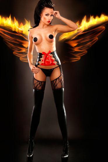 Lolitta Dominatrix, черные Колготки в виде чулок с высоким поясом lolitta sensual черно красный комплект из топа с поясом и чулок