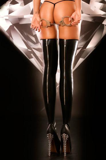 Lolitta Rock, черные Чулки украшенные молниями женская мода сексуальное масло блестящие глянцевые чулки женское открытое колготки колготки bodystockings lingerie для lady