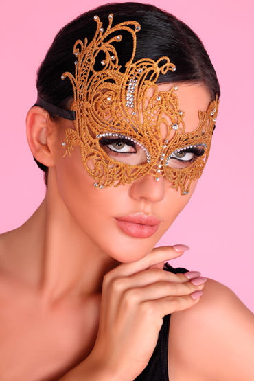 LivCo Corsetti Mask Model 1 Golden, золотая Ажурная маска со стразами