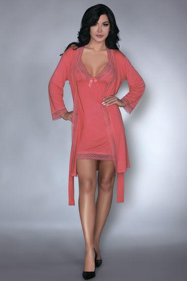LivCo Corsetti Luisanna, коралловый Пеньюар, сорочка и трусики cорочки и трусики livia corsetti kathleen m