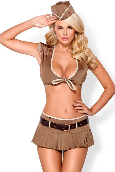 Obsessive костюм 814-CST-4, коричневый Из топа, юбки и головного убора недорго, оригинальная цена