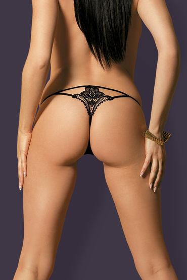 Obsessive Luiza, черные Трусики стринги с вышитым узоромм костюм obsessive medica dress l xl