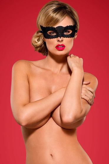 Obsessive маска A700, черная Из вышитого кружева pornhub padded faux leather eyemask черная маска на глаза