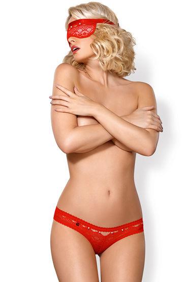 Obsessive комплект 822-SEA-3, красный Из плотной маски на глаза и трусиков мастурбатор вагина анус с вибрацией baile passion lady