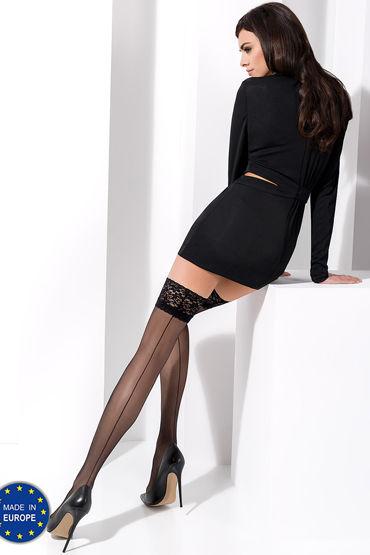 Passion чулки ST022, черные С рисунком имитирующим шов livco corsetti dina черный пеньюар и трусики