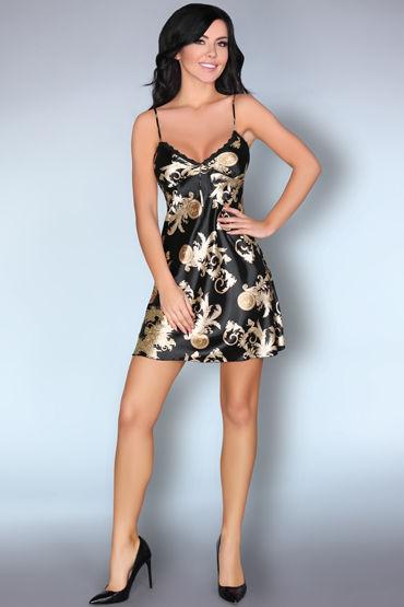 LivCo Corsetti Dragana, черная Сорочка с орнаментом livco corsetti roanna черная сорочка с кружевом и трусики