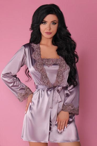 Livia Corsetti Jacqueline, сиреневый Пеньюар, сорочка и трусики livia corsetti marita черный пеньюар с вышивкой