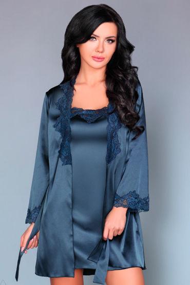Livia Corsetti Jacqueline, синий Пеньюар, сорочка и трусики livia corsetti marita черный пеньюар с вышивкой