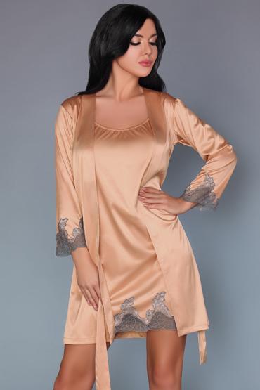 Livia Corsetti Sancha, персиковые Пеньюар и сорочка livia corsetti jacqueline черный комплект из пеньюара сорочки и трусиков