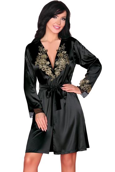 Livia Corsetti Natasha, черный Пеньюар с роскошной вышивкой toyfa theatre страусиное перо черное с рукояткой