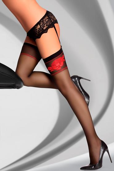 LivCo Corsetti Amarachia 20 den, черные Чулки с изображением розы livco corsetti gawrila 20 den черные чулки контрастным декором