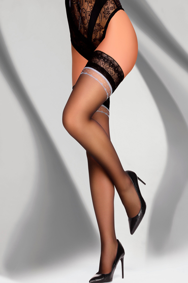 LivCo Corsetti Ambra 20 den, черные Чулки с кружевной резинкой пестисы livia corsetti 13 черные кружевные с бантиками