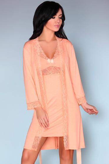 LivCo Corsetti Shirleena, персиковые Пеньюар и сорочка livia corsetti marita черный пеньюар с вышивкой