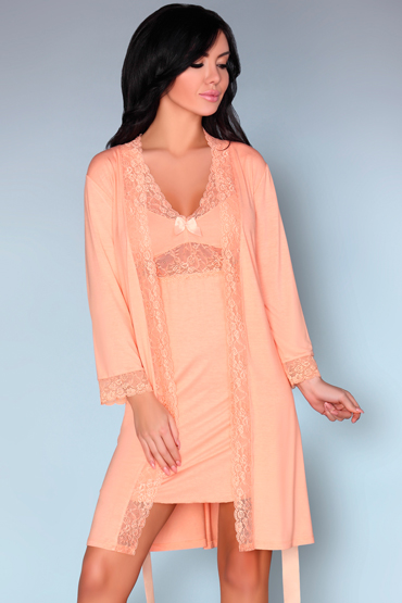 LivCo Corsetti Shirleena, персиковые Пеньюар и сорочка livco corsetti frances коралловый пеньюар украшенный кружевом