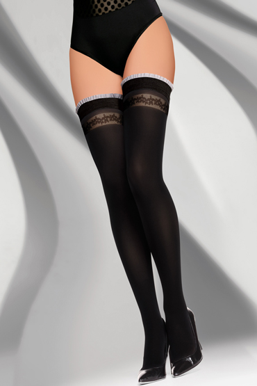 LivCo Corsetti Charistena 40 den, черные Чулки с оборками на резинке livco corsetti gawrila 20 den черные чулки контрастным декором