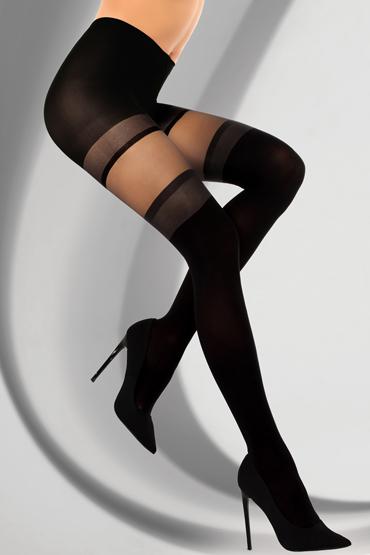LivCo Corsetti Mevene 30 den, черные Колготки с рисунком-имитацией чулок livco corsetti gawrila 20 den черные чулки контрастным декором