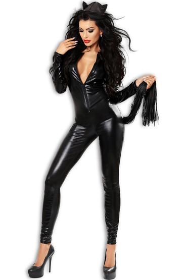 Lolitta Catchy, черный Комбинезон - костюм кошки корсет и стринги fibi s m