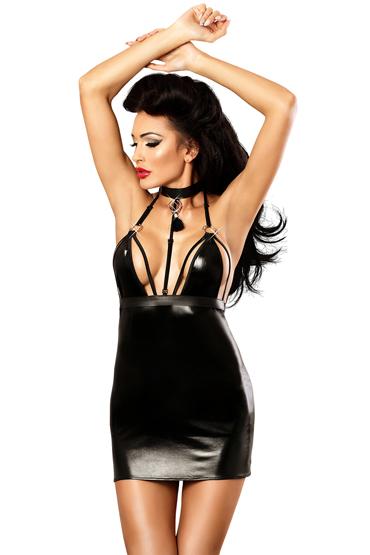 Lolitta Empire, черное Глянцевое платье из искуственной кожи lolitta intense черное лаковое боди и трусики