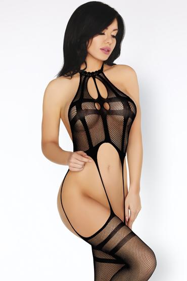 LivCo Corsetti Tijana, черный Боди-комбинезон с рисунком-имитацией livco corsetti serminsa черный боди комбинезон с разрезами сзади