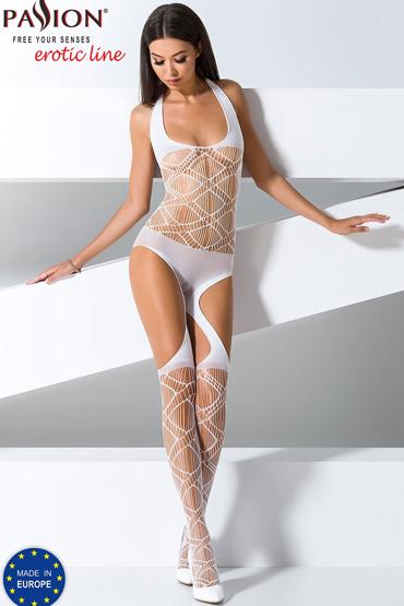 Passion Боди-комбинезон BS060, белый Из сетки с вырезами боди passion clover s m